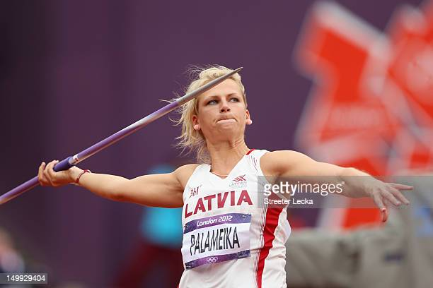 Madara Palameika of Latvia competes in the Women's Javelin Throw Qualification on Day 11 of the London 2012 Olympic Games at Olympic Stadium on...