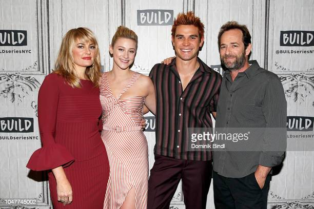 Madchen Amick Lili Reinhart K J Apa and Luke Perry attend the Build Series to discuss 'Riverdale' at Build Studio on October 8 2018 in New York City