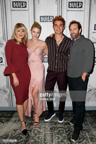 Madchen Amick Lili Reinhart K J Apa and Luke Perry attend the Build Series to discuss Riverdale at Build Studio on October 8 2018 in New York City