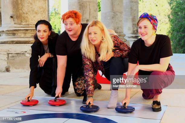 Maddalena Hirschal, Veronika Polly, Katharina Strasser and Marlene Morreis pose during the 'Curling For Eisenstadt' pre-premiere at Schloss Esterhazy...