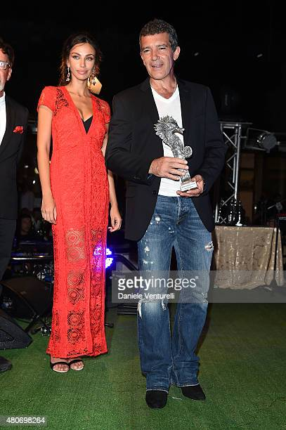 Maddalina Ghenea and Antonio Banderas attend 2015 Ischia Global Film Music Fest Day 2 on July 14 2015 in Ischia Italy