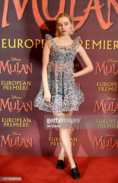 Maddi Waterhouse attends the European Premiere of Disney's MULAN at Odeon Luxe Leicester Square on March 12 2020 in London England