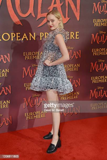 Maddi Waterhouse attends the European Premiere of Mulan at Odeon Luxe Leicester Square on March 12 2020 in London England