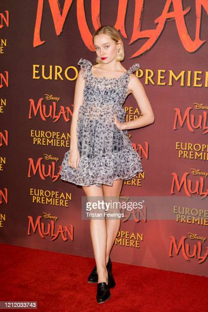 Maddi Waterhouse attends the Mulan European Premiere at the Odeon Luxe Leicester Square on March 12 2020 in London England
