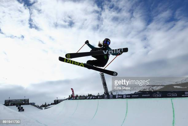 Maddie Bowman competes in the women's Ski Superpipe qualification during Day 1 of the Dew Tour on December 13 2017 in Breckenridge Colorado