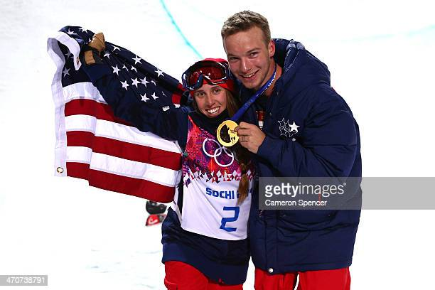 Maddie Bowman of the United States celebrates winning the gold medal in the Freestyle Skiing Ladies' Ski Halfpipe Finals with David Wise gold medal...