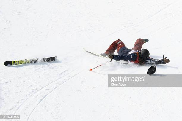 Maddie Bowman of the United States crashes during the Freestyle Skiing Ladies' Ski Halfpipe Final on day eleven of the PyeongChang 2018 Winter...