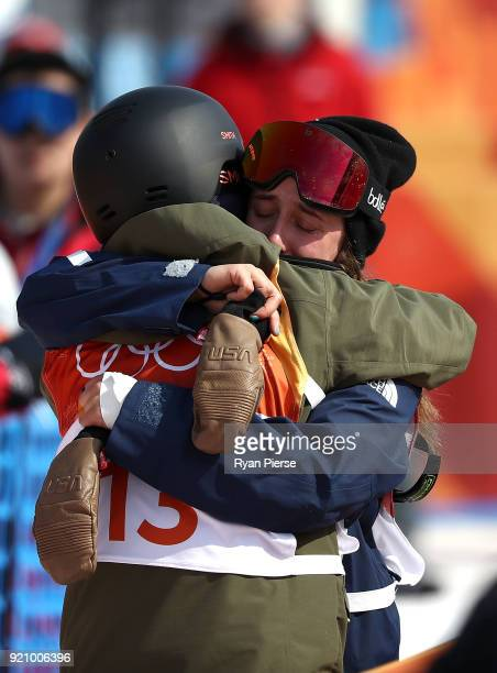 Maddie Bowman of the United States is consoled by Ayana Onozuka of Japan after crashing during the Freestyle Skiing Ladies' Ski Halfpipe Final on day...