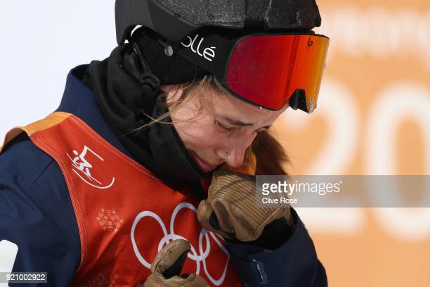 Maddie Bowman of the United States looks dejected following a crash during the Freestyle Skiing Ladies' Ski Halfpipe Final on day eleven of the...