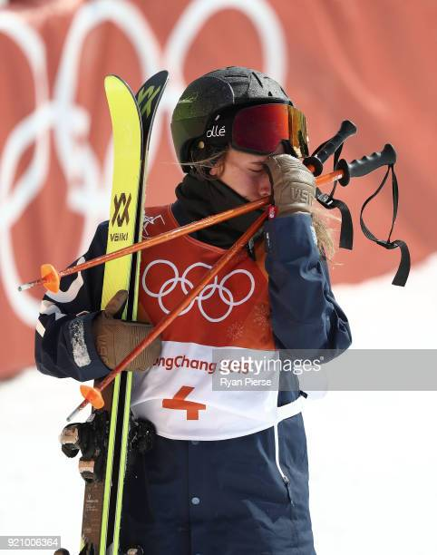 Maddie Bowman of the United States reacts after crashing during the Freestyle Skiing Ladies' Ski Halfpipe Final on day eleven of the PyeongChang 2018...