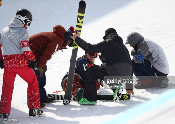 Maddie Bowman of the United States recovers after crashing during the Freestyle Skiing Ladies' Ski Halfpipe Final on day eleven of the PyeongChang...