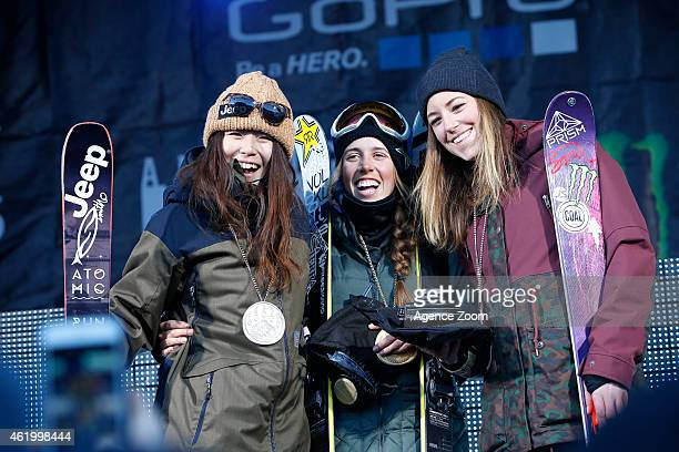 Maddie Bowman of USA takes 1st place Ayana Onozuka of Japan takes 2nd place and Brita Sigourney of USA takes 3rd place during the Winter X Games...
