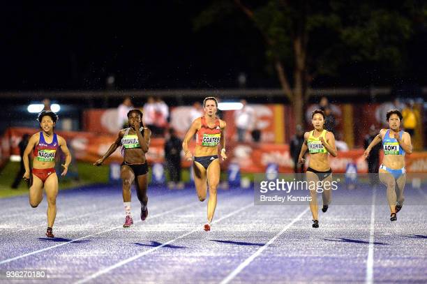 Maddie Coates competes in the Women's 100m event during the Summer of Athletics Grand Prix at QSAC on March 22 2018 in Brisbane Australia