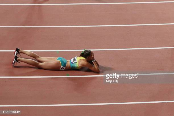 Maddie Coates of Australia reacts after competing in the Women's 4x100 metres relay heats during day eight of 17th IAAF World Athletics Championships...