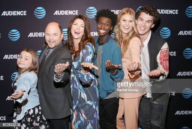 Maddie DixonPoirier Jason Alexander Amy Pietz Tim Johnson Jr Natalie Sharp and Nick Marini attend the ATT AUDIENCE Network premiere of Hit The Road...