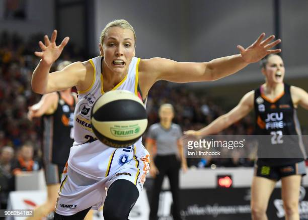 Maddie Garrick of the Boomers attempts to regather the ball during game three of the WNBL Grand Final series between the Townsville Fire and...