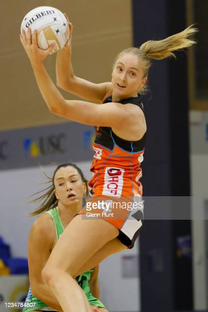 Maddie Hay of the Giants controls the ball during the Preliminary Final Super Netball match between the GWS Giants and West Coast Fever at University...
