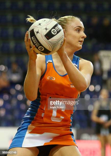 Maddie Hay of the Giants in action during the Australian Netball League grand final between the Tasmanian Magpies and the Canberra Giants at AIS...