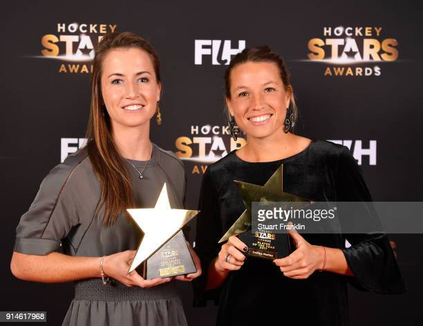 Maddie Hinch of England and Delfina Merino of Argentina with their awards during the Hockey Star Awards night at Stilwerk on February 5 2018 in...