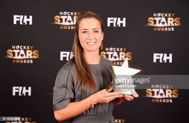 Maddie Hinch of England holds her award for goalkeeper of the year during the Hockey Star Awards night at Stilwerk on February 5 2018 in Berlin...