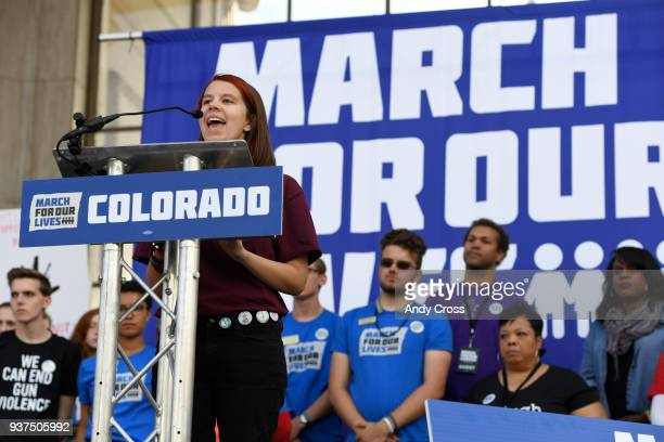 Maddie King current student and survivor of the 2018 Marjory Stoneman Douglas shooting gives a speech at Civic Center Park for the March for Our...