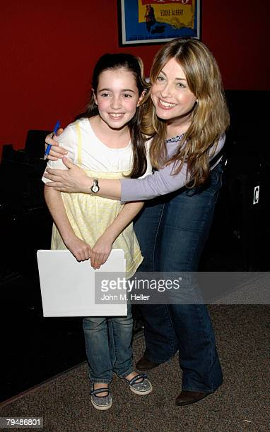 Maddie Levy and Cynthia Bain pose at Deborah Gibson's Camp Electric Youth scholarship auditions at the Howard Fine Acting School on February 2 2008...