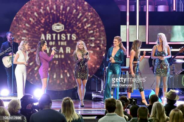 Maddie Marlow and Tae Dye of musical duo Maddie and Tae Carrie Underwood Hannah Mulholland Naomi Cooke and Jennifer Wayne of musical group Runaway...