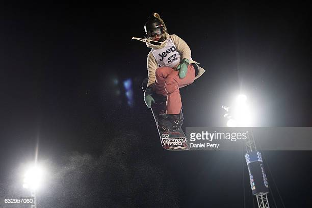 Maddie Mastro competes during her second run in the women's snowboard halfpipe during Day 3 of Winter X Games 2017 Aspen at Buttermilk Mountain on...