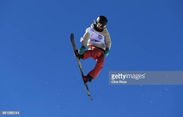 Maddie Mastro of the United States competes during the Women's Snowboard Halfpipe Qualification on day three of the FIS Freestyle Ski and Snowboard...