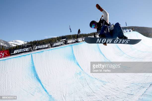 Maddie Mastro of the United States competes in the finals of the FIS Snowboard World Cup 2018 Ladies' Snowboard Halfpipe during the Toyota US Grand...