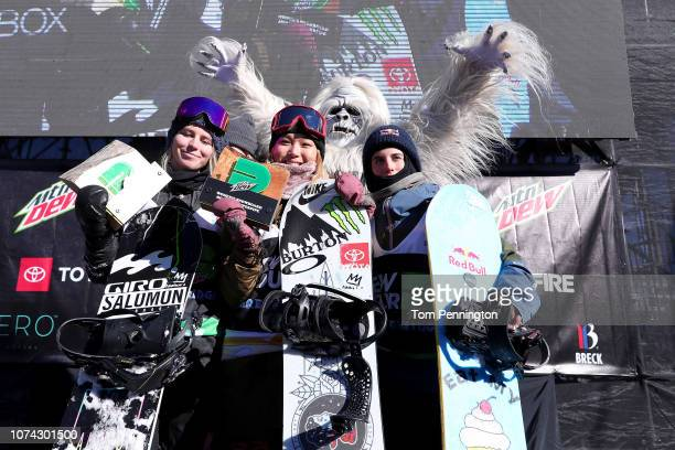 Maddie Mastro of the United States in second place Chloe Kim of the United Stte in first place and Querlt Castellet of Spain celebrate on the podium...