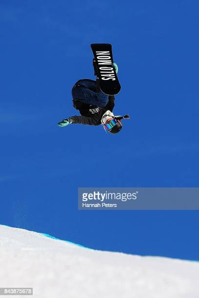 Maddie Mastro of USA competes during the Winter Games NZ FIS Women's Snowboard World Cup Halfpipe Finals at Cardrona Alpine Resort on September 8...