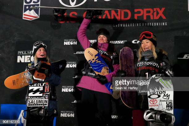Maddie Mastro third place Kelly Clark first place and Chloe Kim second place react on the podium after the final round of the Ladies' Snowboard...