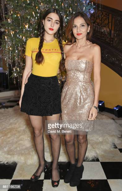 Maddie Mills and Yasmin Mills attend Claridge's Christmas Tree Party 2017 designed by Karl Lagerfeld on November 28 2017 in London United Kingdom