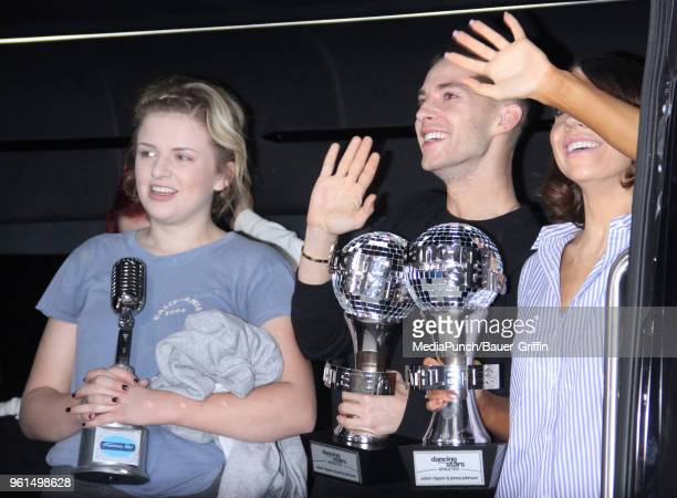 Maddie Poppe Adam Rippon and Jenna Johnson winners of Dancing with the Stars are seen on May 22 2018 in New York City