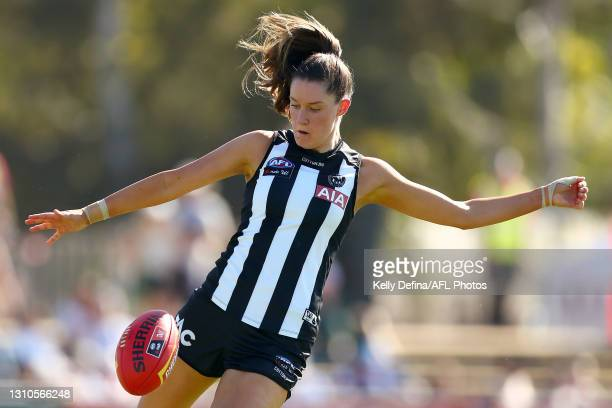Maddie Shevlin of the Magpies kicks the ball during the AFLW Finals Series match between the Collingwood Magpies and the North Melbourne Kangaroos at...