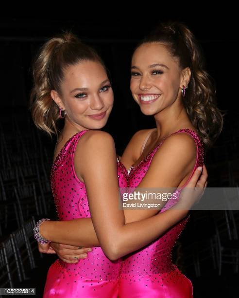 Maddie Ziegler and Alexis Ren pose at 'Dancing with the Stars' Season 27 at CBS Televison City on October 15 2018 in Los Angeles California