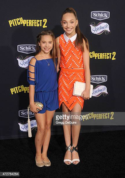 Maddie Ziegler and Mackenzie Ziegler arrive at the Los Angeles premiere of 'Pitch Perfect 2' at Nokia Theatre LA Live on May 8 2015 in Los Angeles...