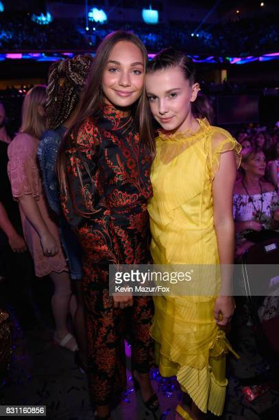 Maddie Ziegler and Millie Bobby Brown attend Teen Choice Awards 2017 at Galen Center on August 13, 2017 in Los Angeles, California.