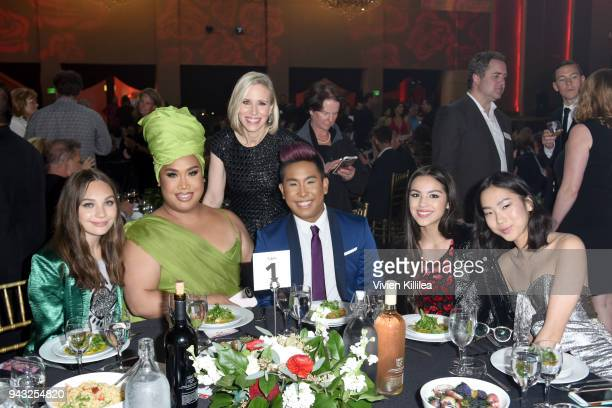 Maddie Ziegler Patrick Starrr honoree and COO of Instagram Marne Levine Peter Simondac Olivia Rodrigo and Madison Hu attend the My Friend's Place...