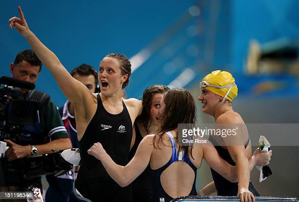 Maddison Elliot Katherine Downie Ellie Cole and Jacqueline Freney of Australia celebrate after winning the gold in the Women's 4x100m Freestyle 34...