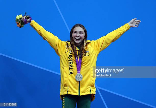 Maddison Elliot of Australia with her silver medal from the Women's 50m Freestyle - S8 on day four of the London 2012 Paralympic Games at the...
