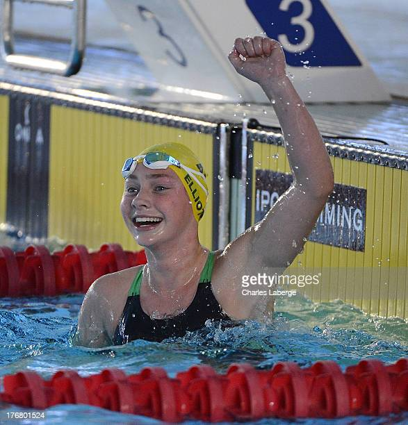 Maddison Elliott of Australia celebrates after winning the Women's 50M Freestyle S18 during day seven of the IPC Swimming World Championship at Parc...