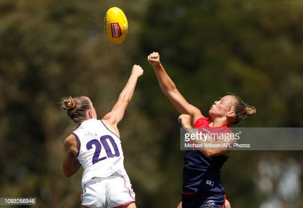 Maddison Gay of the Demons and Stephanie Cain of the Dockers compete for the ball during the 2019 NAB AFLW Round 01 match between the Melbourne...