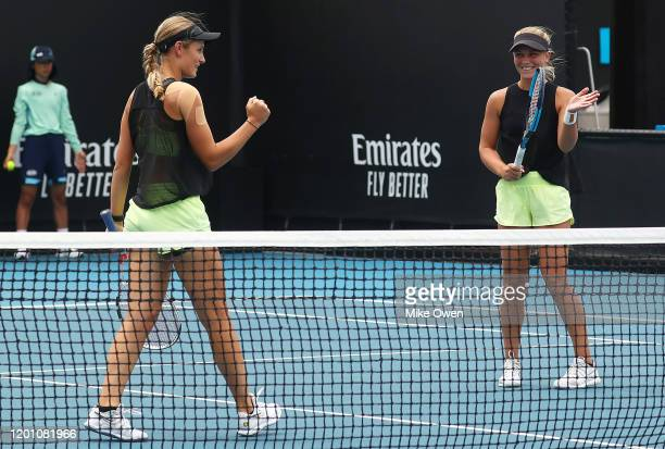 Maddison Inglis and Kaylah McPhee of Australia celebrates after winning a point during their Women's Doubles first round match against Lyudmyla...
