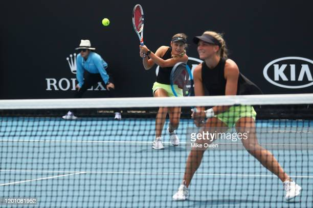 Maddison Inglis and Kaylah McPhee of Australia plays during their Women's Doubles first round match against Lyudmyla Kichenok of Ukraine and Zhaoxuan...