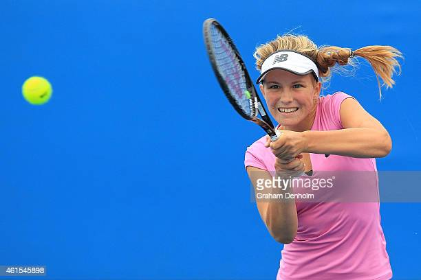 Maddison Inglis of Australia plays a backhand in her qualifying match against Louisa Chirico of the USA for the 2015 Australian Open at Melbourne...