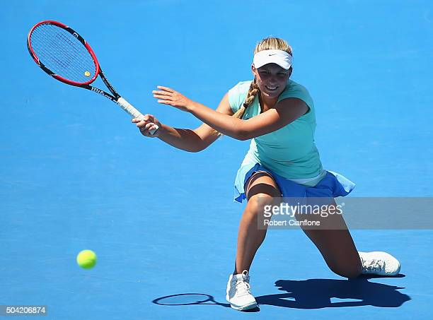 Maddison Inglis of Australia plays a backhand in the women's single match against Margarita Gasparyan of Russia during day one of 2016 Hobart...
