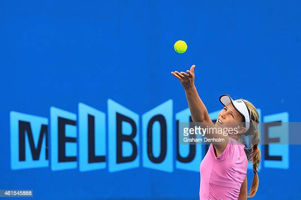 Maddison Inglis of Australia serves in her qualifying match against Louisa Chirico of the USA for the 2015 Australian Open at Melbourne Park on...
