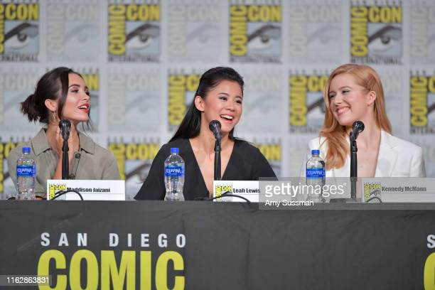 Maddison Jaizani Leah Lewis and Kennedy McMann speak at the Nancy Drew exclusive screening and panel during 2019 ComicCon International at San Diego...